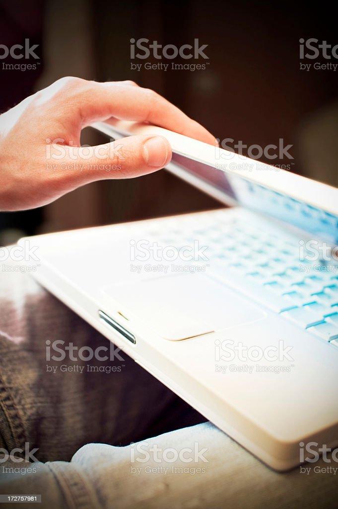 Shutting the Laptop stock photo