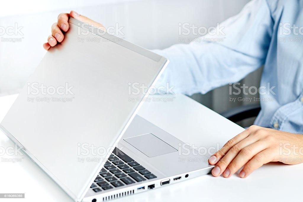 Shutting the Laptop - Stock image stock photo