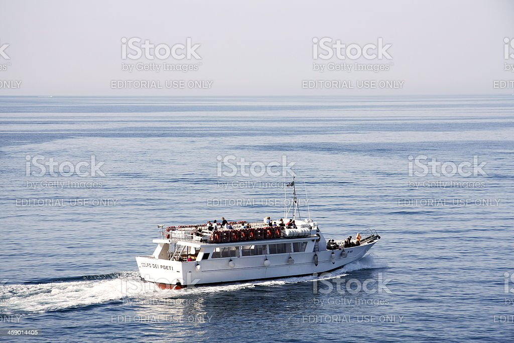 Shuttle boat in Cinque Terre royalty-free stock photo