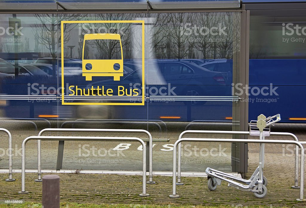 shuttle bus stop airport stock photo