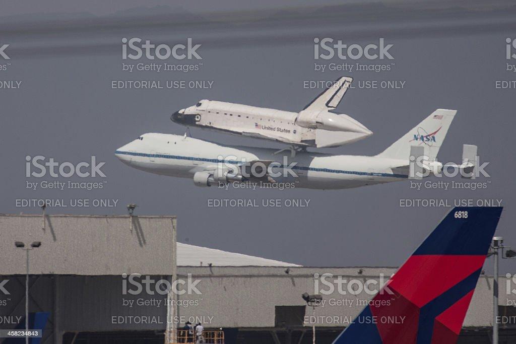 Shuttle on 747 in Flight royalty-free stock photo