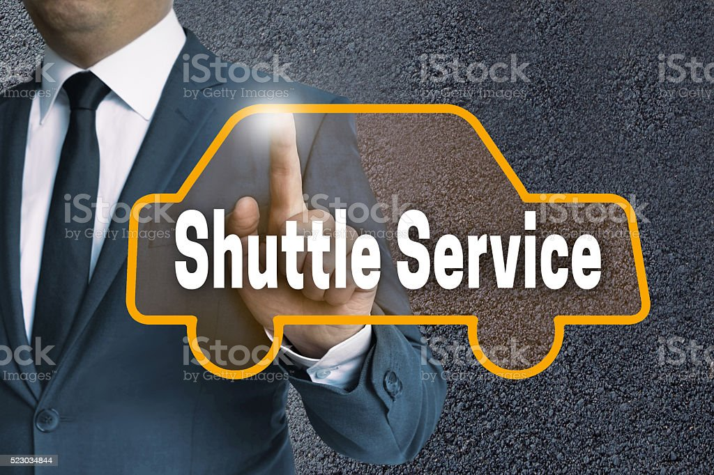 shuttle service car touchscreen operated by businessman concept stock photo