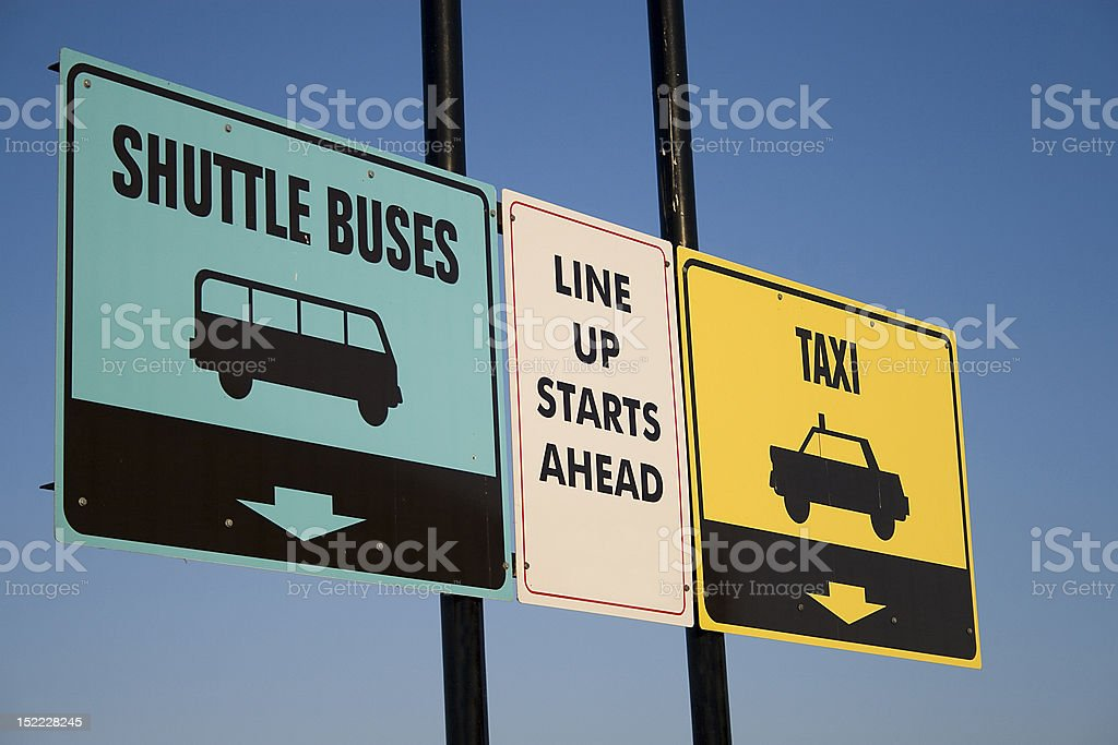 Shuttle signs stock photo