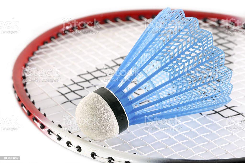 Shuttlecock on badminton racket royalty-free stock photo