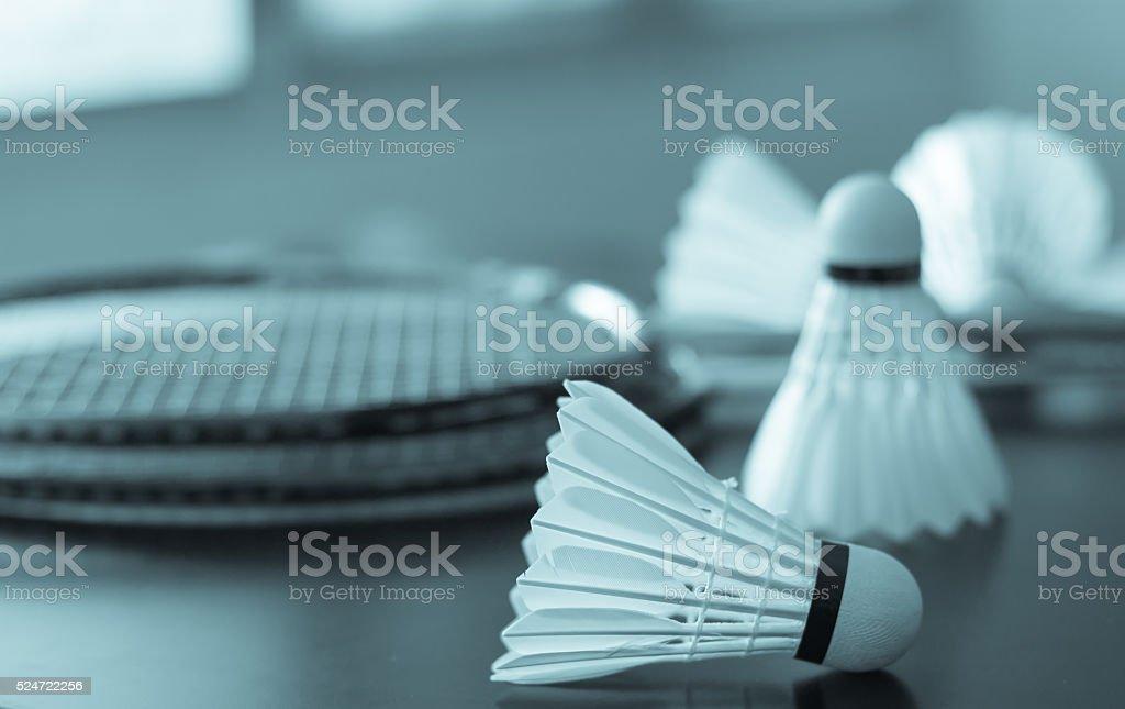 Shuttlecocks and rackets stock photo