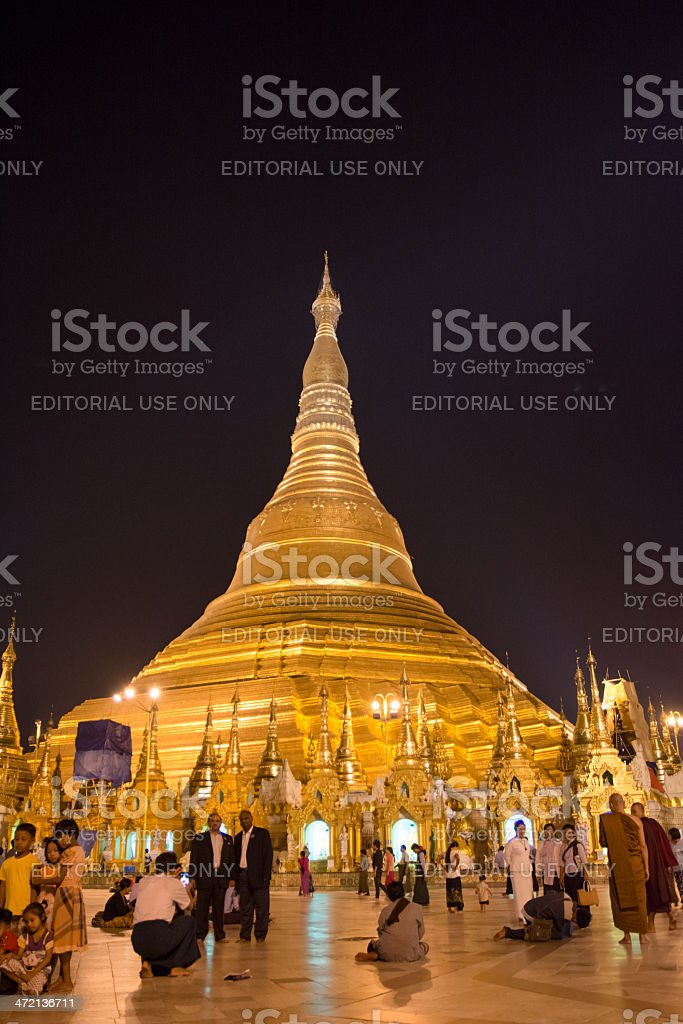 Shwe Dagon Pagoda in the Evening royalty-free stock photo