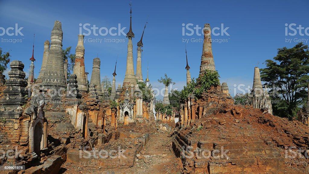 Shwe Indein Pagoda, Indein,  Nyaung Shwe, Inle lake, Myanmar stock photo