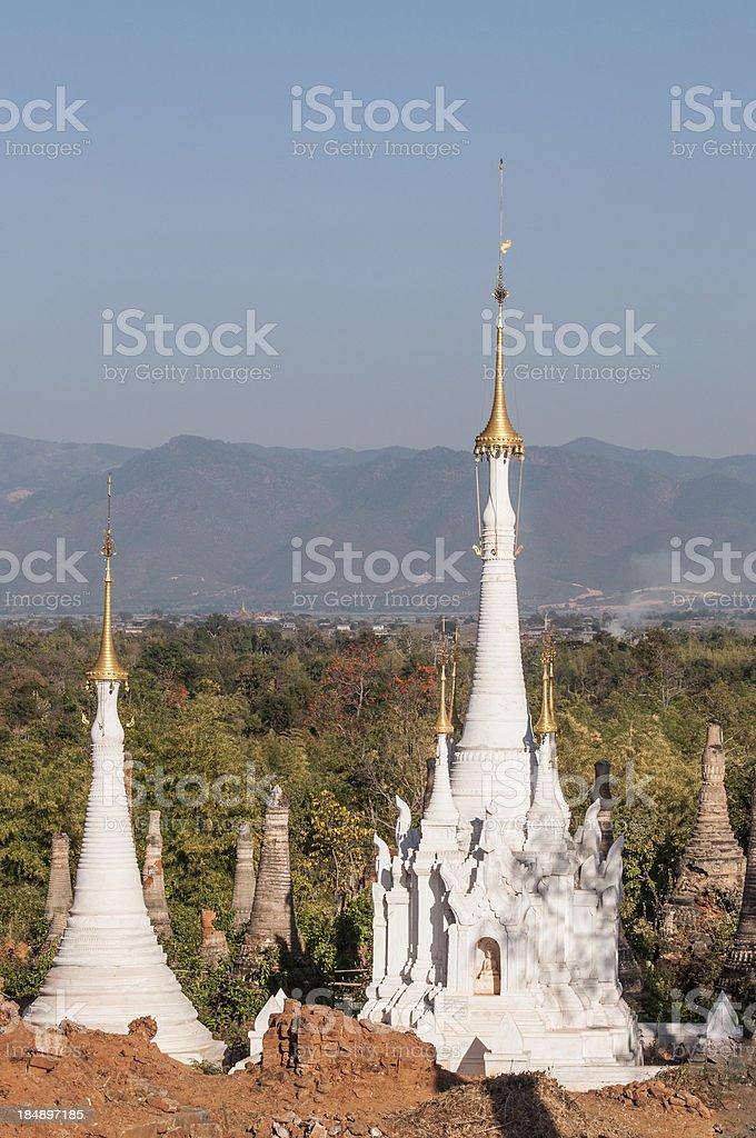 Shwe Indein Pagodas royalty-free stock photo