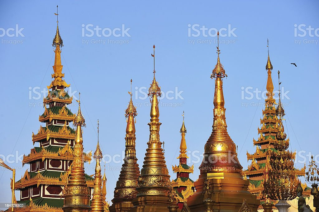 Shwedagon golden pagoda at twilight, Yangon,Myanmar royalty-free stock photo