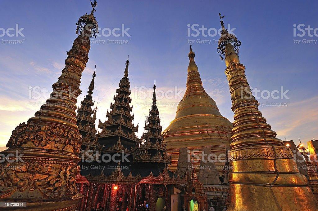 Shwedagon golden pagoda at twilight, Yangon,Myanmar royalty-free stock photo