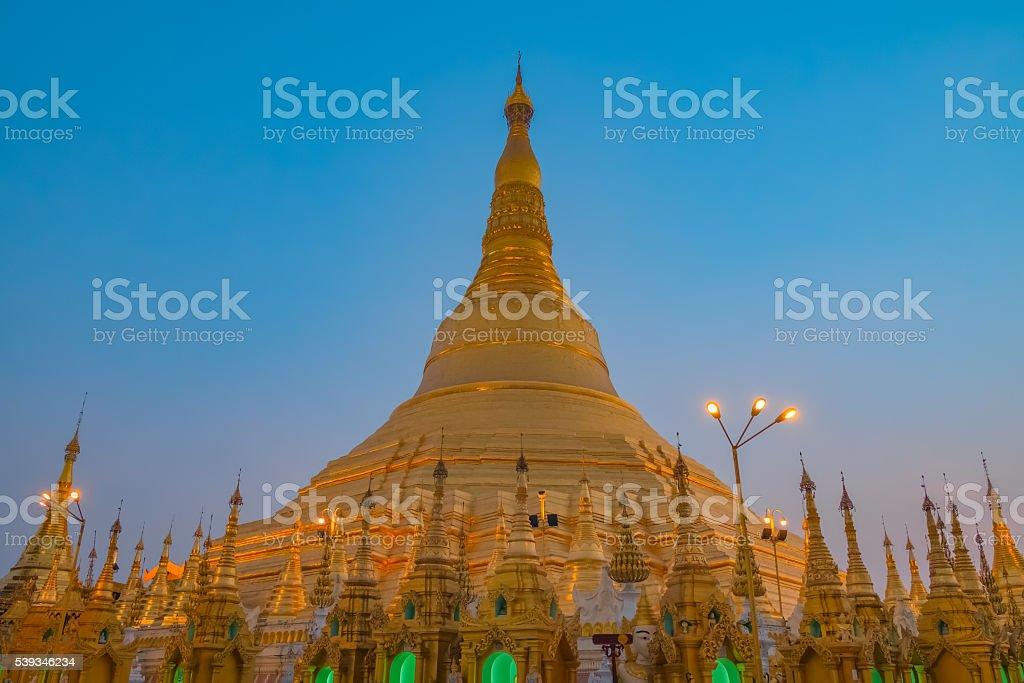 Shwedagon Golden Pagoda in Myanmar stock photo