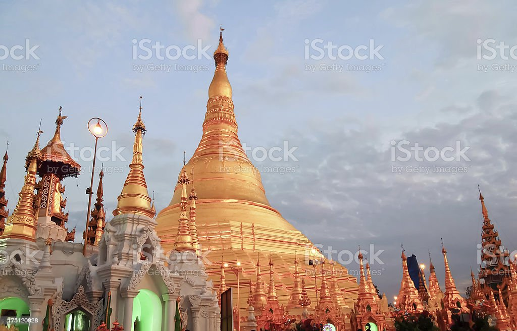 Shwedagon golden pagoda in Yangon, Myanmar (Burma) royalty-free stock photo