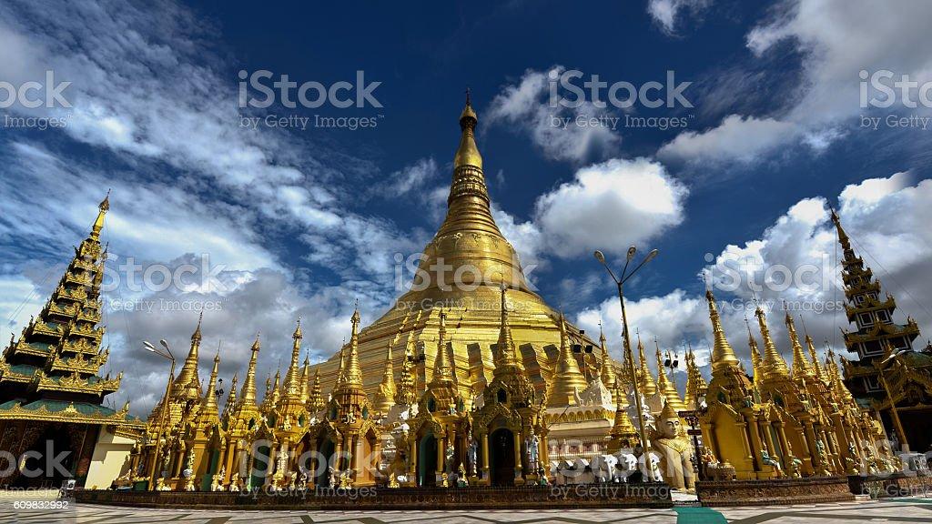 Shwedagon golden pagoda stock photo