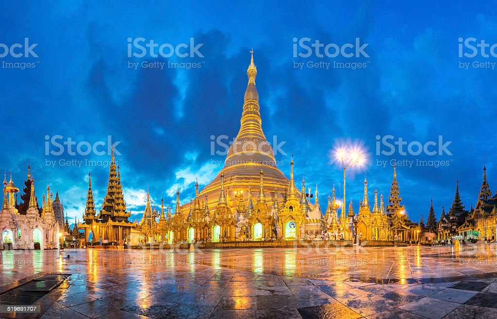 Shwedagon in twilight stock photo