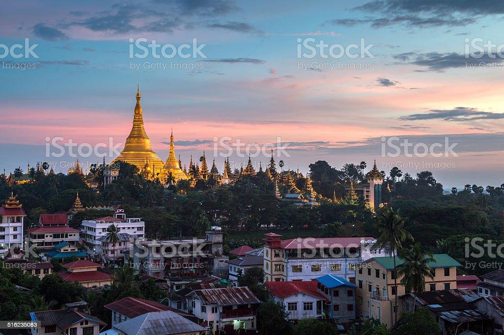Shwedagon in Yangon city myanmar stock photo