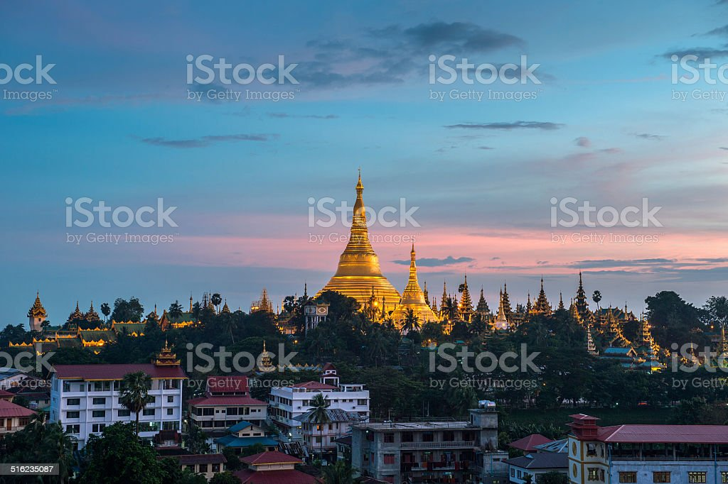 Shwedagon in Yangon city myanmar stock photo