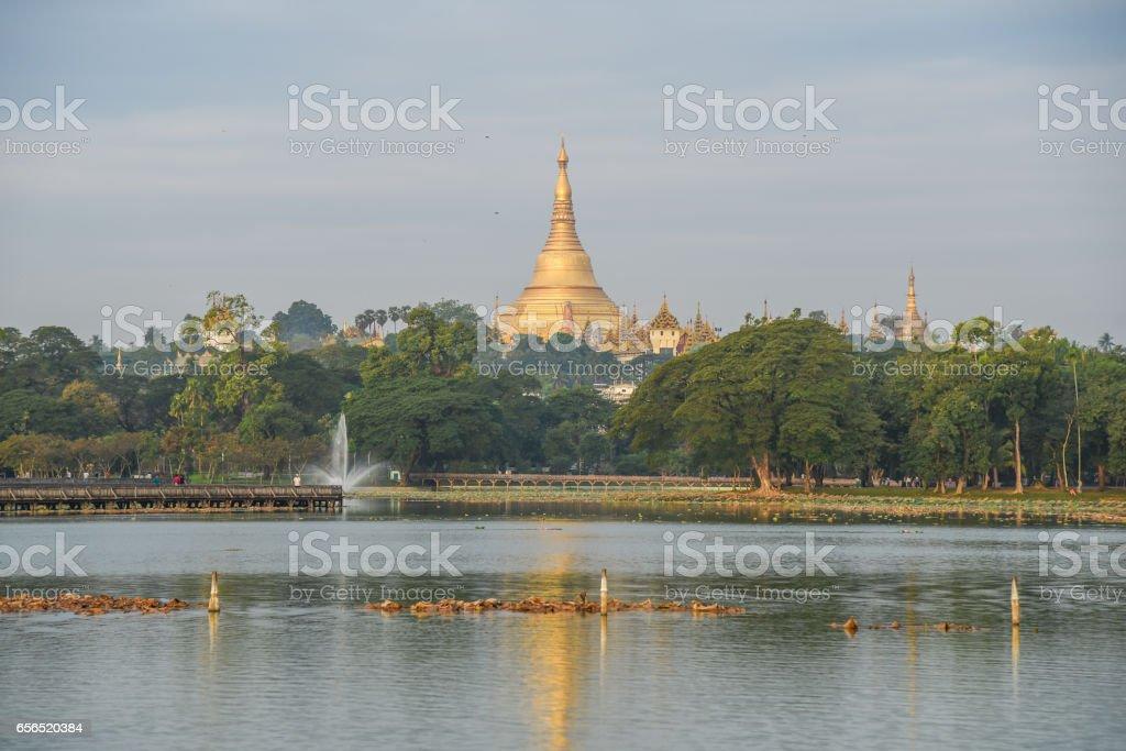 Shwedagon pagoda and kandawgyi lake in Yangon, Myanmar stock photo