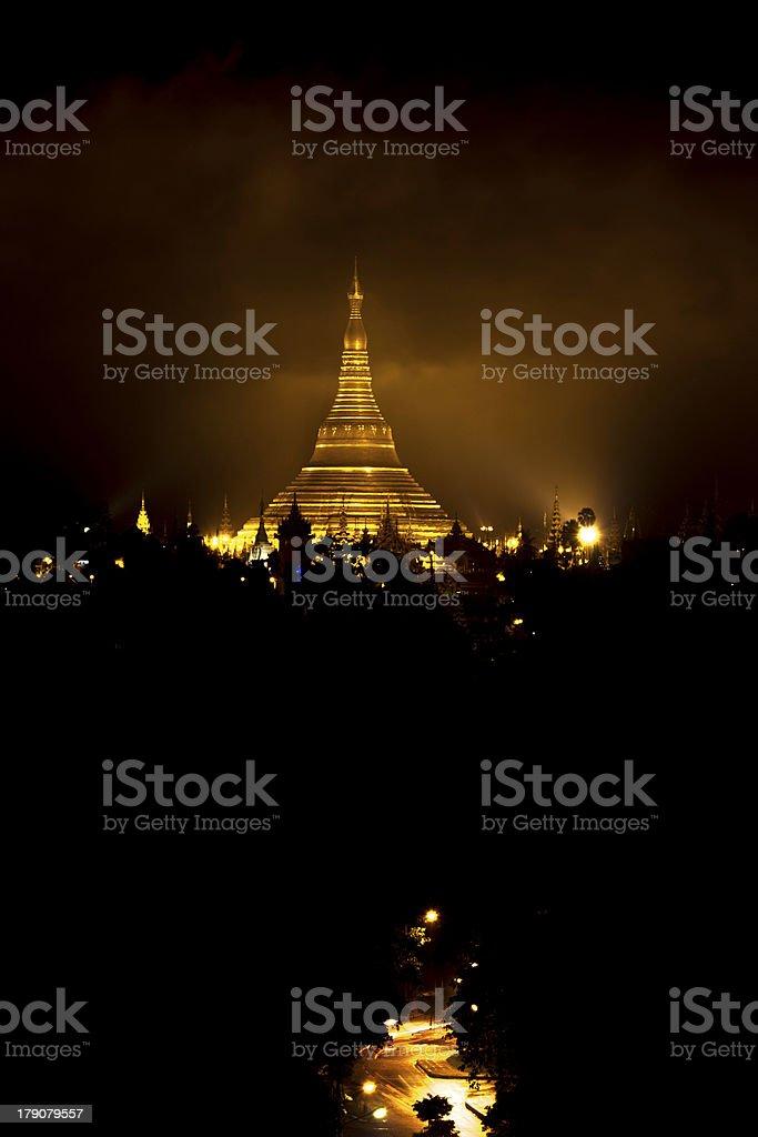 Shwedagon pagoda at night royalty-free stock photo