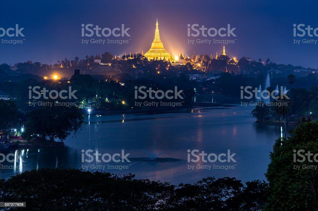 Shwedagon pagoda at night, Yangon,Myanmar stock photo