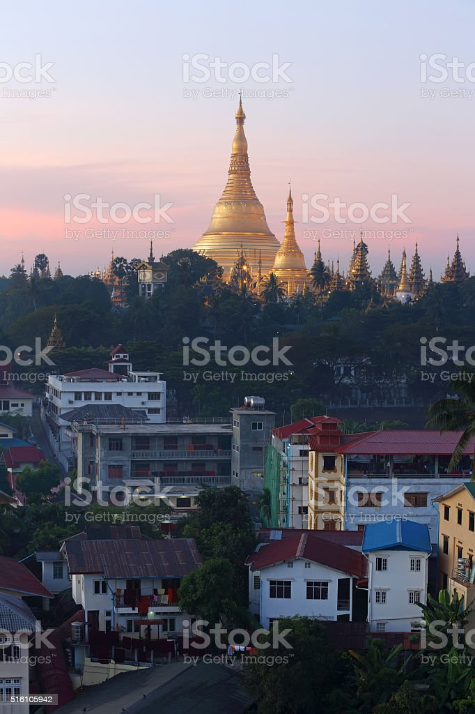 Shwedagon Pagoda at sunrise stock photo