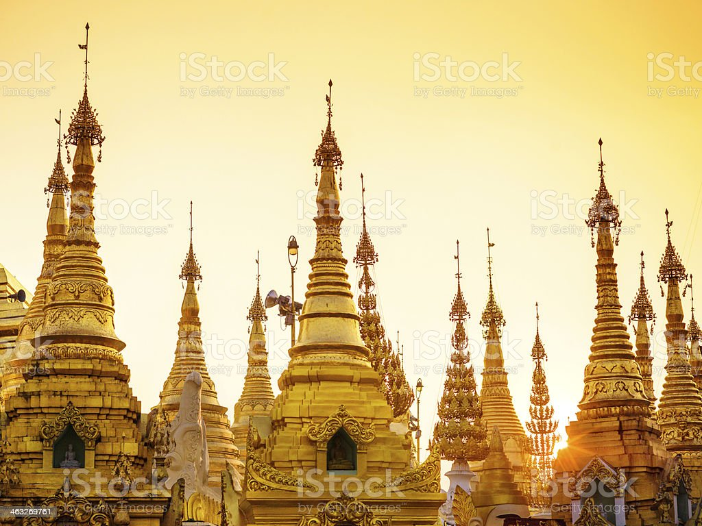 Shwedagon Pagoda at sunset royalty-free stock photo
