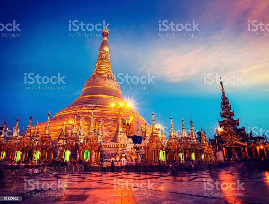 Shwedagon pagoda in the evening stock photo