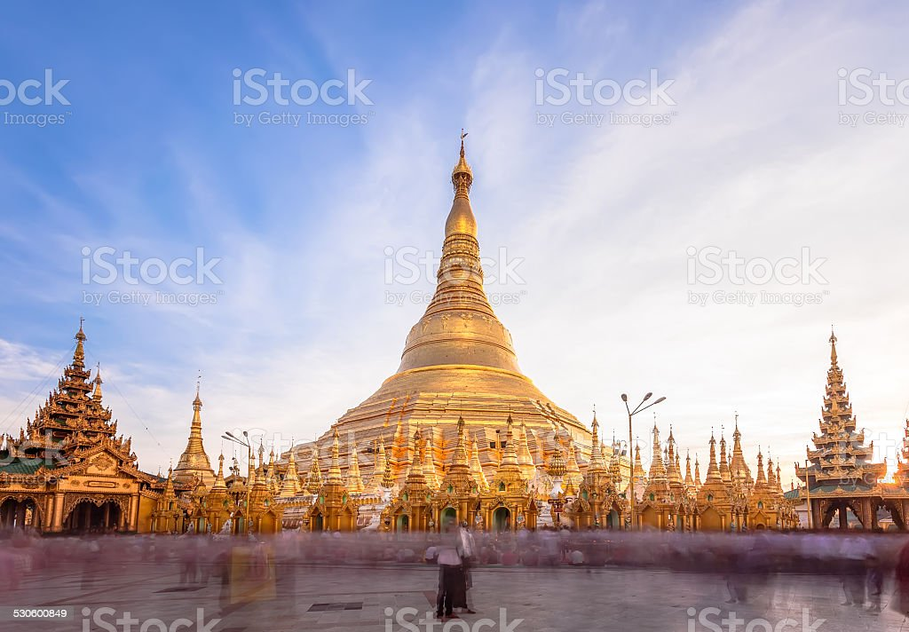 Shwedagon pagoda in Yagon, Myanmar. stock photo