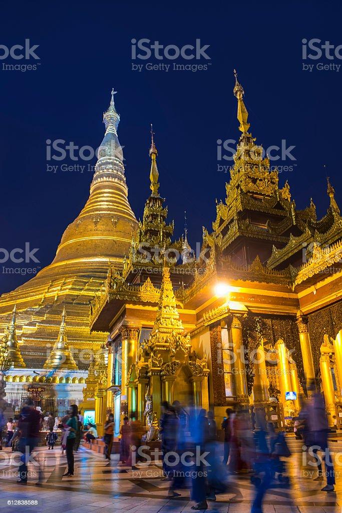 Shwedagon pagoda in Yagon, Myanmar stock photo