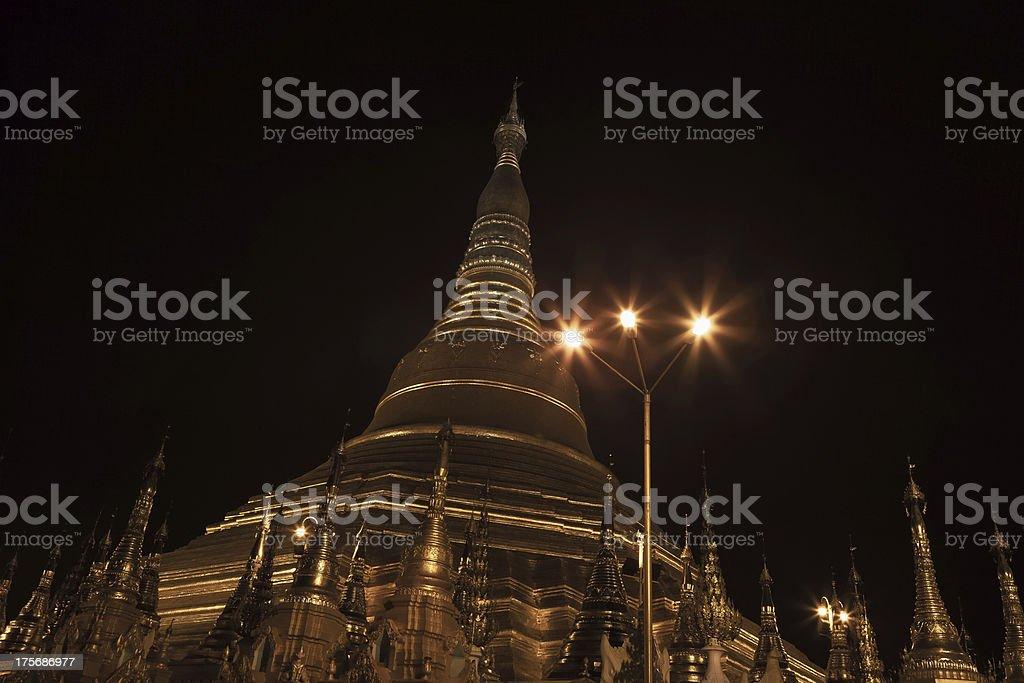 Shwedagon pagoda in Yangon, Burma (Myanmar) at night royalty-free stock photo
