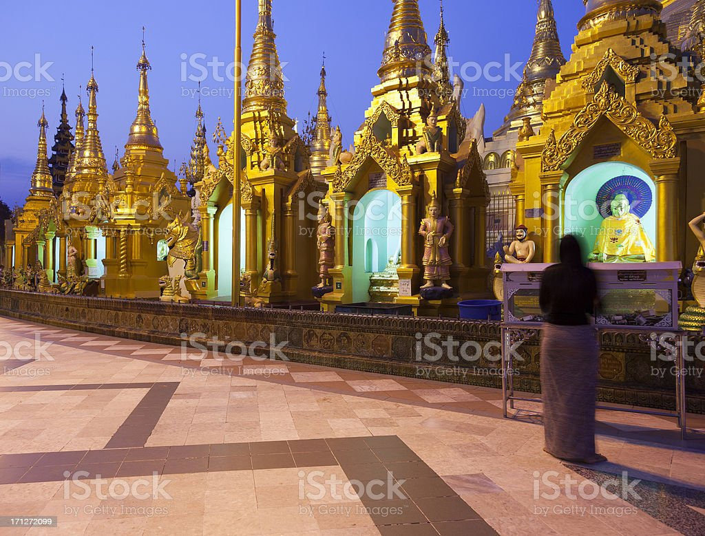 Shwedagon Pagoda in Yangon Myanmar close-up royalty-free stock photo