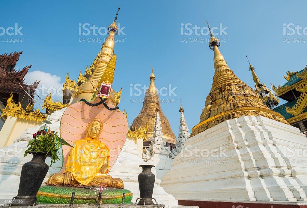 Shwedagon pagoda in Yangon township of Myanmar. stock photo