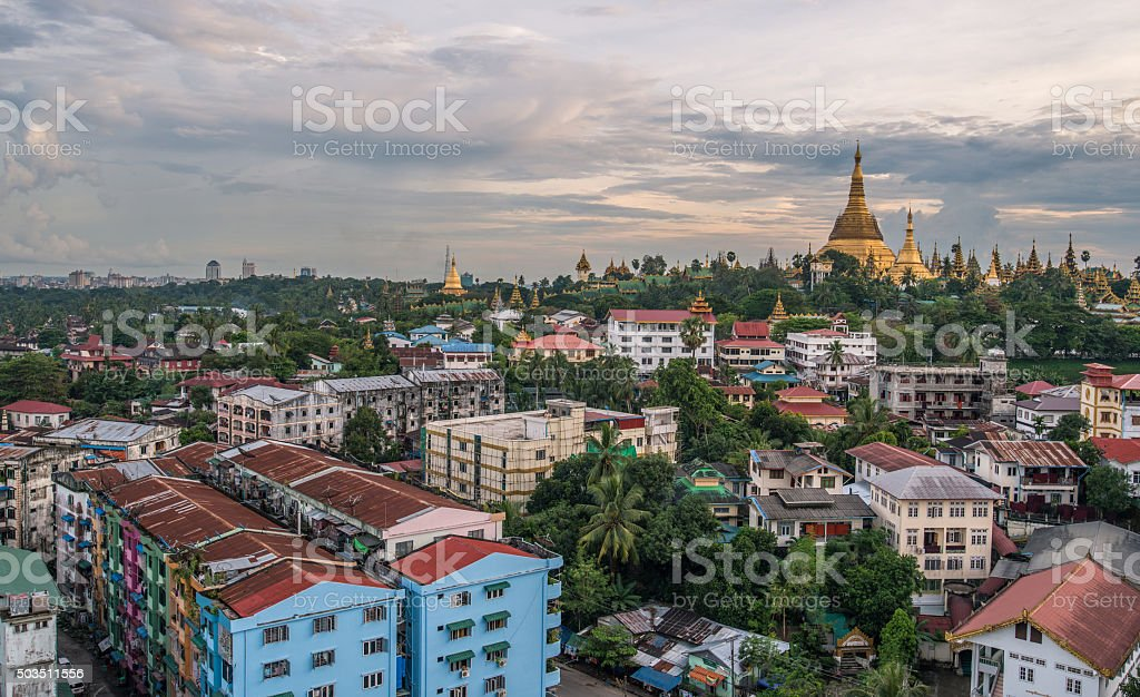 Shwedagon pagoda of Yangon, Myanmar. stock photo
