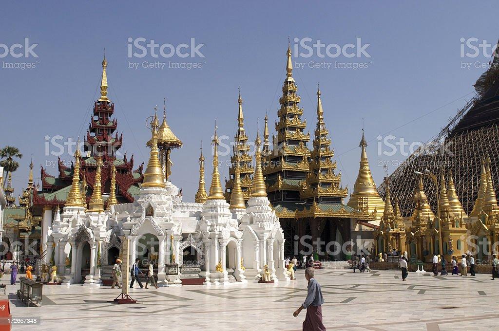 Shwedagon Pagoda Surroundings royalty-free stock photo