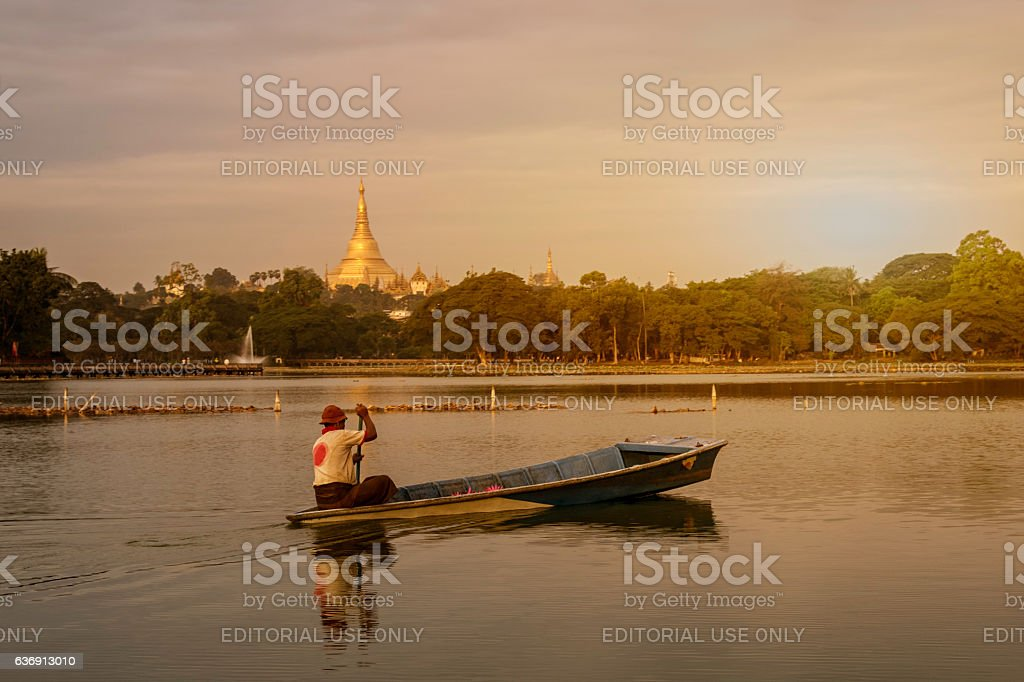 Shwedagon Pagoda view from Kandawgyi lake stock photo