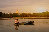 Shwedagon Pagoda view from Kandawgyi lake