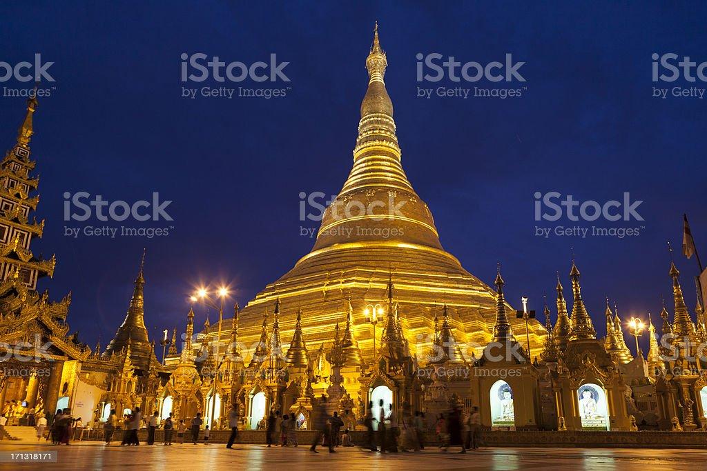 Shwedagon Paya At Night royalty-free stock photo