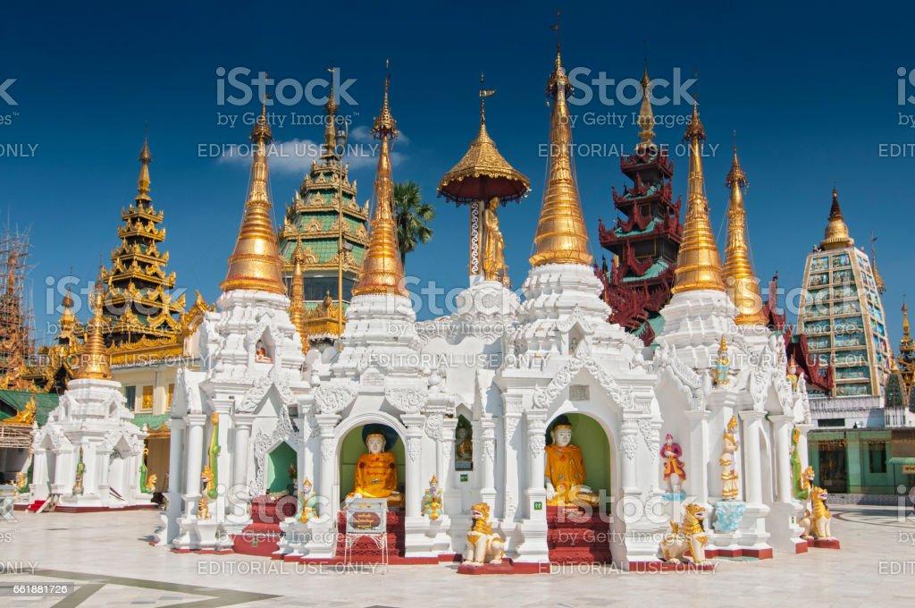 Shwedagon Paya is the most sacred golden buddhist pagoda in Yangon, Myanmar. stock photo