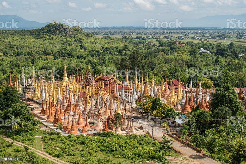 Shwe-Indein pagoda of Inle-lake, Myanmar. stock photo