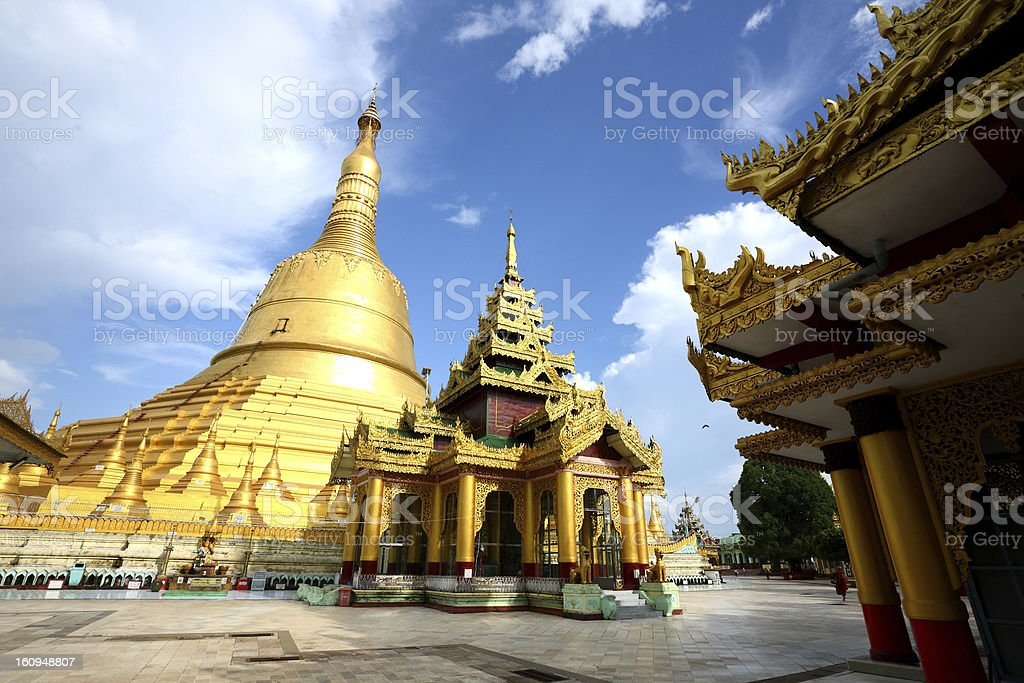 Shwemawdaw pagoda in Bago royalty-free stock photo