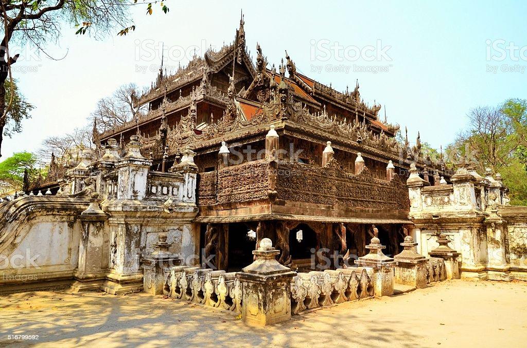 Shwenandaw Kyaung Temple in Mandalay stock photo