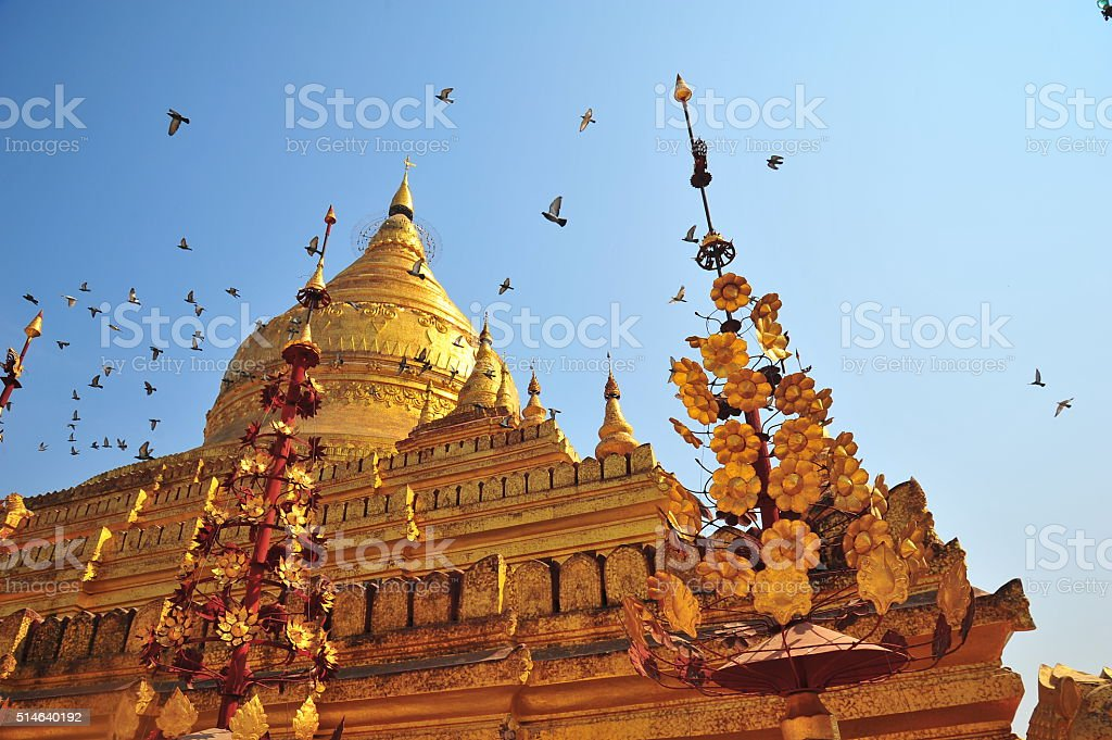 Shwezigon Pagoda in Bagan, Myanmar stock photo
