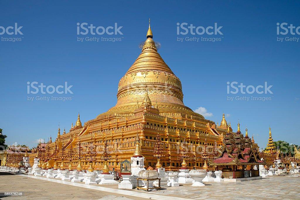 Shwezigon Paya, one of Myanmar's most revered pagodas, in Nyaung stock photo