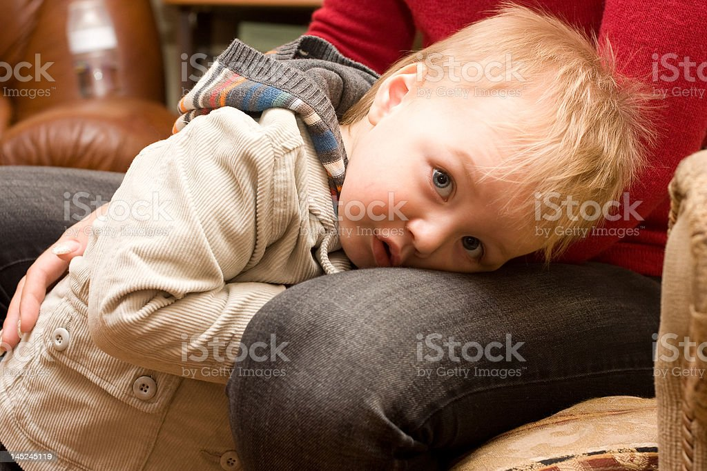Shy cute boy stock photo