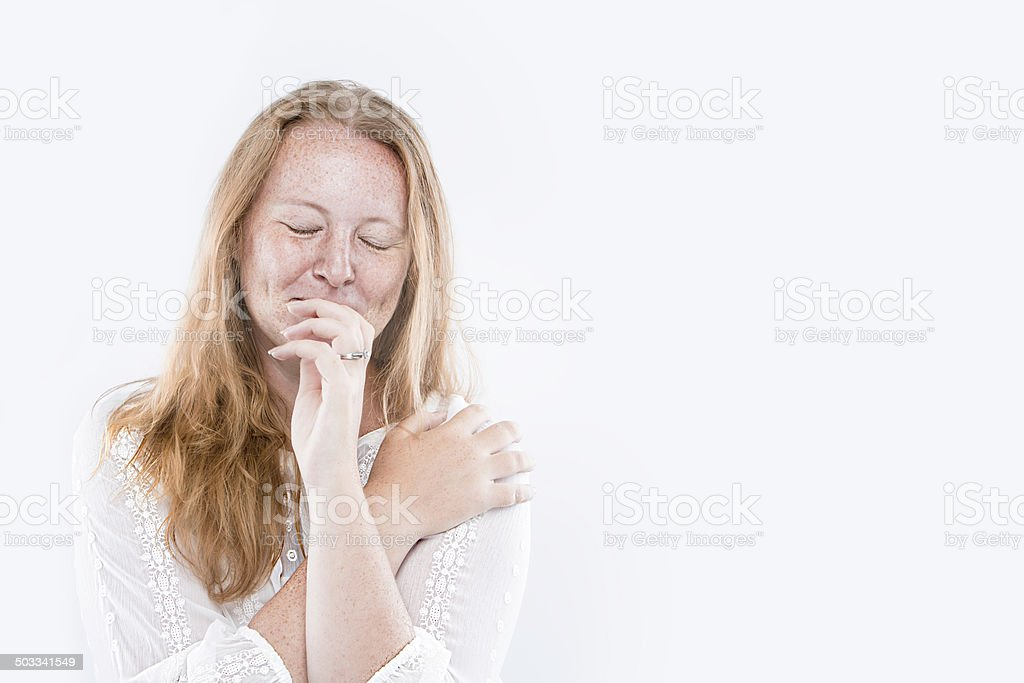 Shy Freckle Face royalty-free stock photo