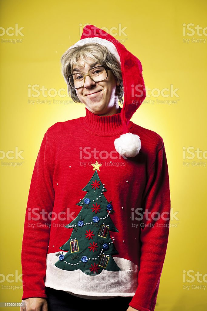 Shy Funny Face Making Teenager Nerd Christmas Boy Portrait royalty-free stock photo