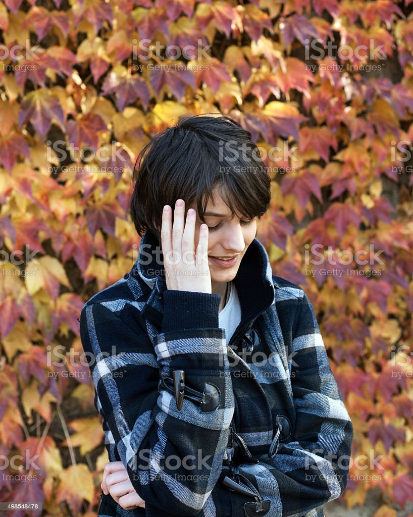 Shy girl looking down royalty-free stock photo