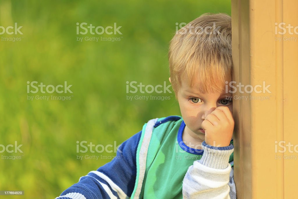 shy little boy portrait stock photo