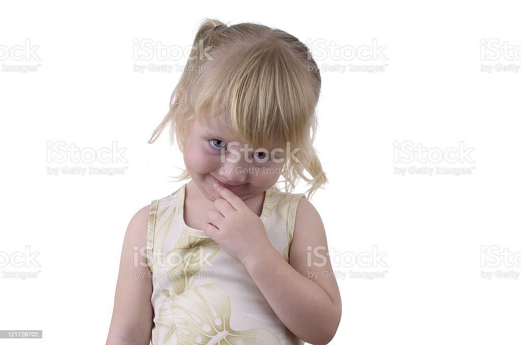 Shy Little Girl on White Background royalty-free stock photo