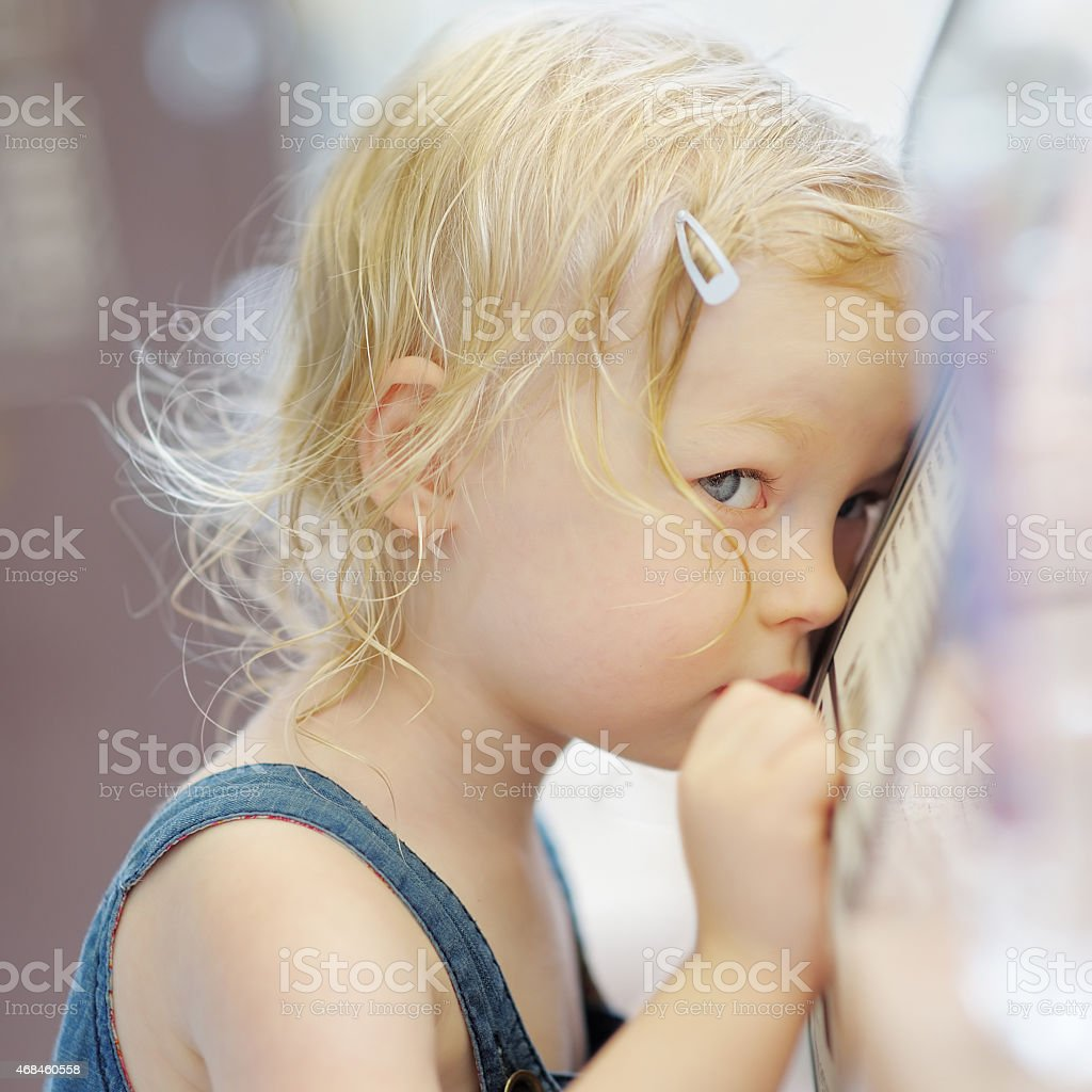 Shy little girl portrait stock photo