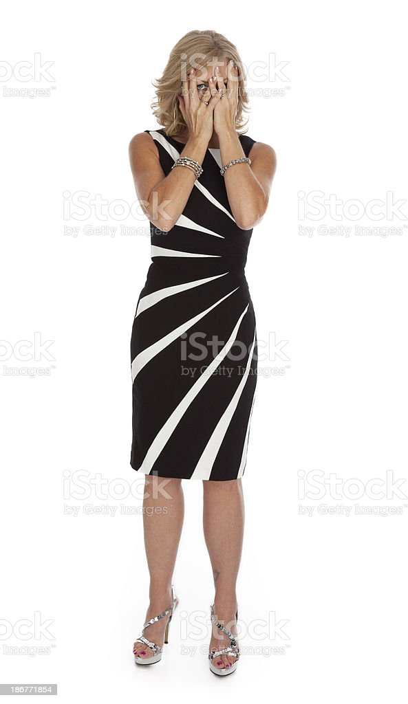 Shy Woman on White Background royalty-free stock photo